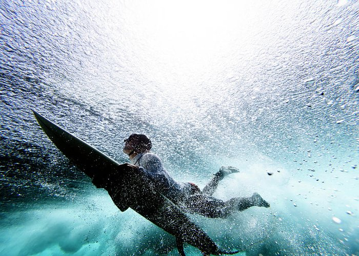 Expertise Greeting Card featuring the photograph Surfer Duck Diving by Subman