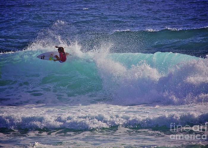 Girl Surfer Greeting Card featuring the photograph Surfer Girl 1 by Heng Tan