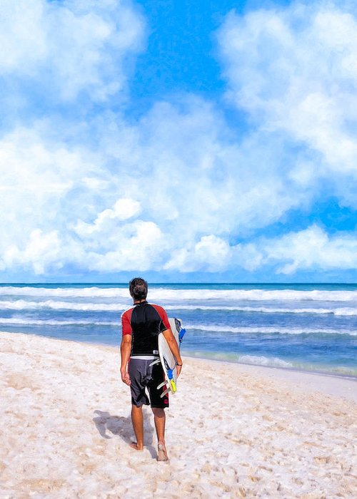 Playa Greeting Card featuring the photograph Surfer Hunting For Waves At Playa Del Carmen by Mark E Tisdale