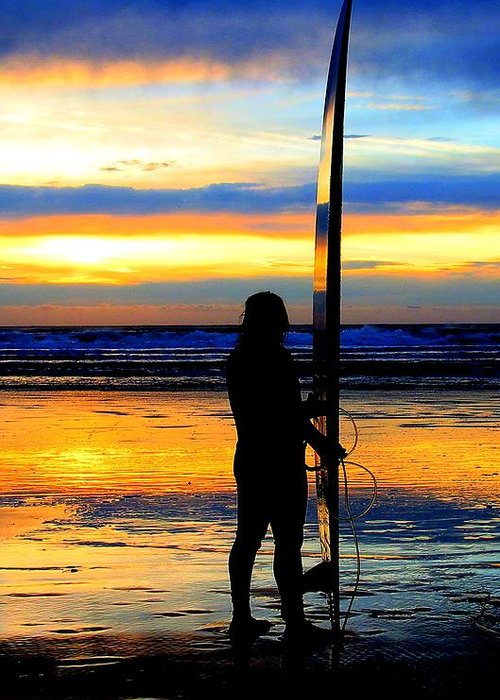 Surfer Greeting Card featuring the photograph Surfer Sunset by Douglas J Fisher