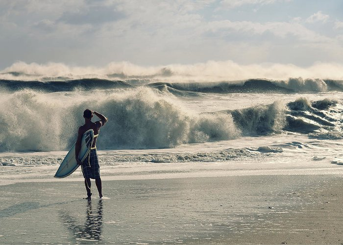 Surfer Greeting Card featuring the photograph Surfer Watch by Laura Fasulo
