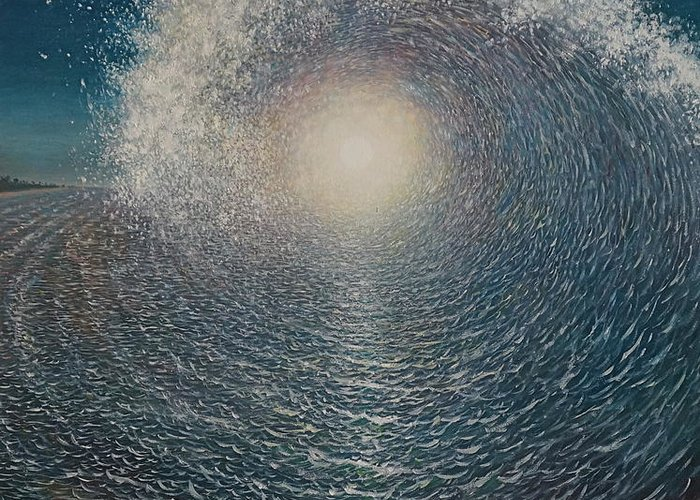 Sun Greeting Card featuring the painting Surfers Dream by Karma Moffett
