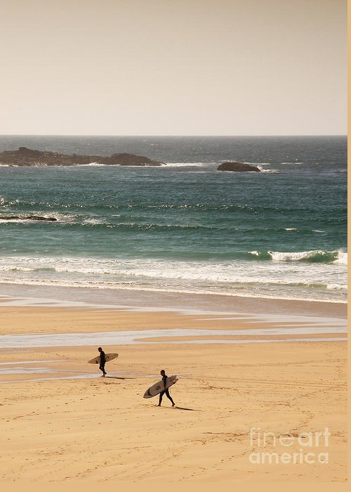 Surf Greeting Card featuring the photograph Surfers On Beach 01 by Pixel Chimp