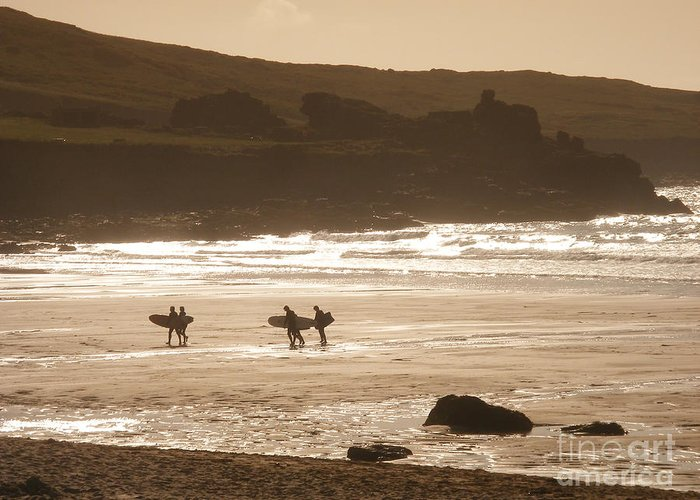 Surf Greeting Card featuring the photograph Surfers On Beach 02 by Pixel Chimp