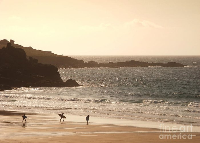 Surf Greeting Card featuring the photograph Surfers On Beach 03 by Pixel Chimp