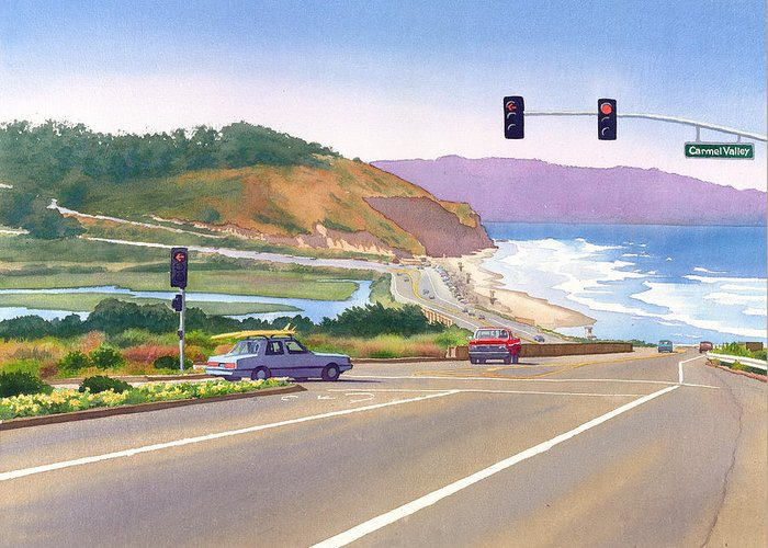 Surfer Greeting Card featuring the painting Surfers On Pch At Torrey Pines by Mary Helmreich
