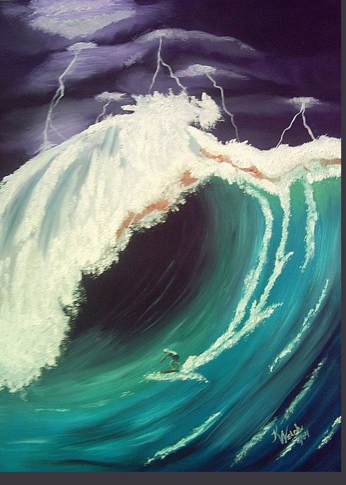 Waves Greeting Card featuring the painting Surfing Dare Devil by Kathern Welsh