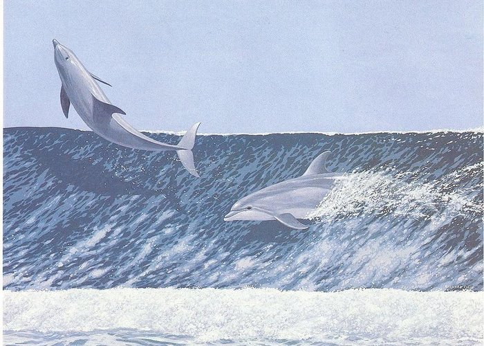 Dolphins Greeting Card featuring the painting Surfing Dolphins by Richard Ellis