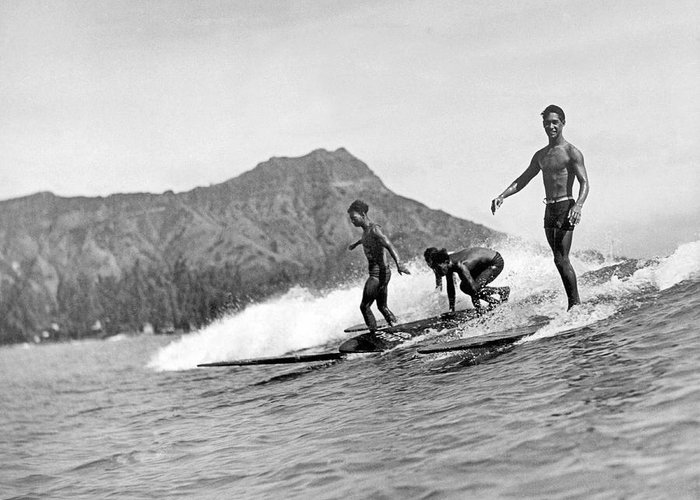 16-20 Years Greeting Card featuring the photograph Surfing In Honolulu by Underwood Archives