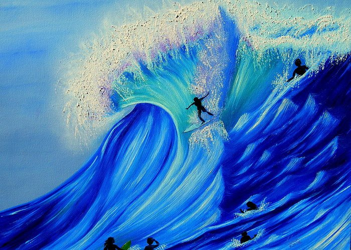 Surf Greeting Card featuring the painting Surfing Party by Kathern Welsh