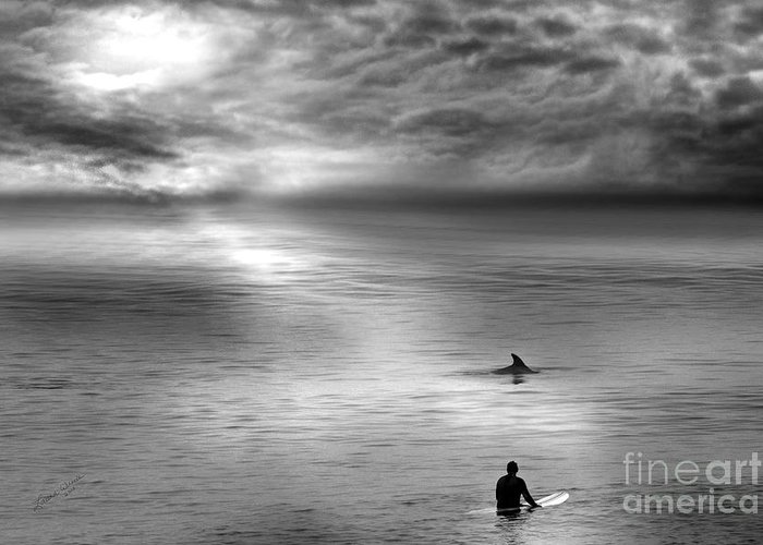 Dolphins Greeting Card featuring the photograph Surfing With The Dolphin by Artist and Photographer Laura Wrede