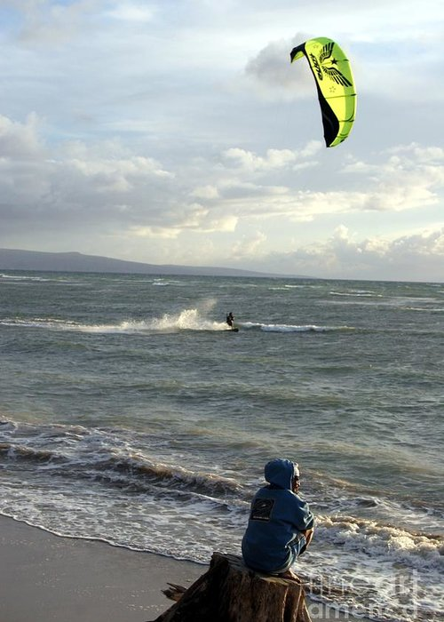 Wind Surfing Greeting Card featuring the photograph Surfs Up by Mary Lou Chmura