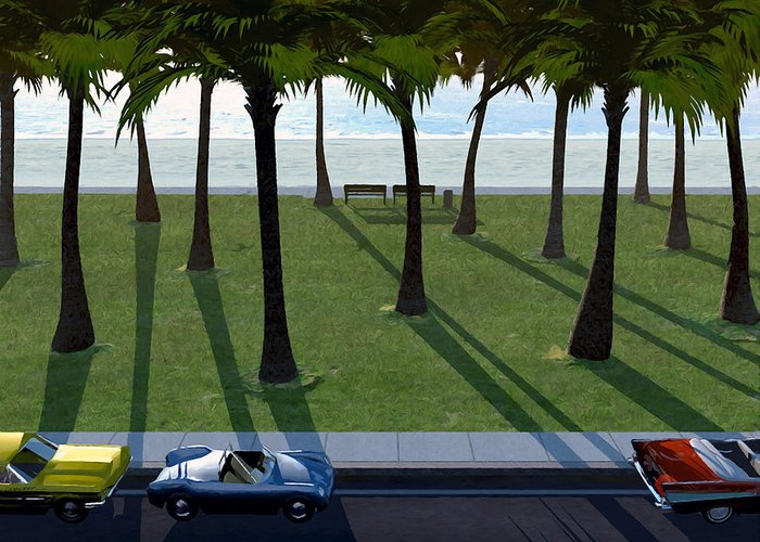 Cars Greeting Card featuring the digital art Surfside by Cynthia Decker