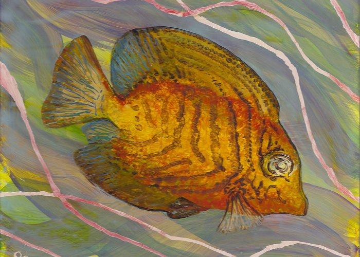 Surgeonfish Greeting Card featuring the painting Surgeonfish by Anna Skaradzinska
