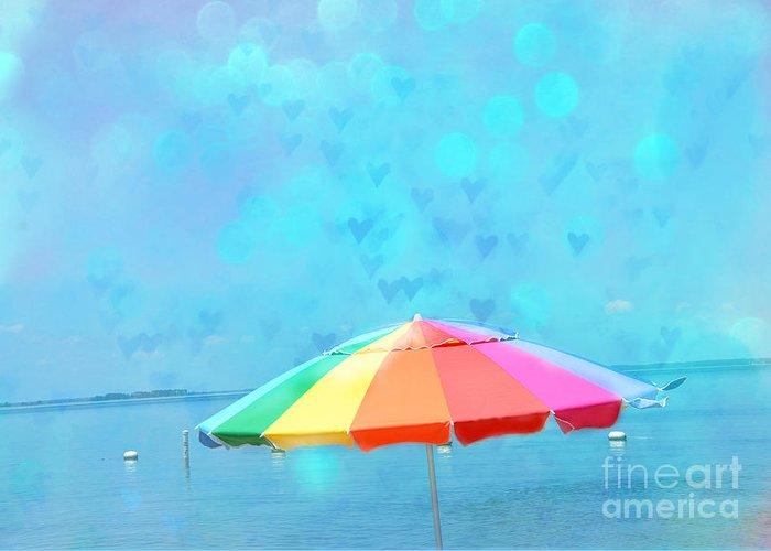 Beach Ocean Photos Greeting Card featuring the photograph Surreal Blue Summer Beach Ocean Coastal Art - Beach Umbrella by Kathy Fornal