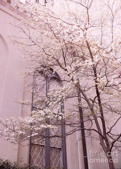 Nature Photography Greeting Card featuring the photograph Surreal Dreamy Church Window With Pink Trees by Kathy Fornal