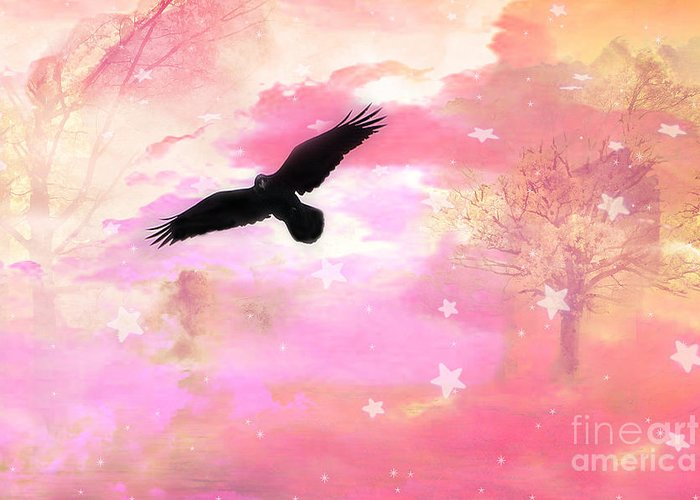 Ravens Crows In Pink Nature Greeting Card featuring the photograph Surreal Dreamy Fantasy Ravens Pink Sky Scene by Kathy Fornal