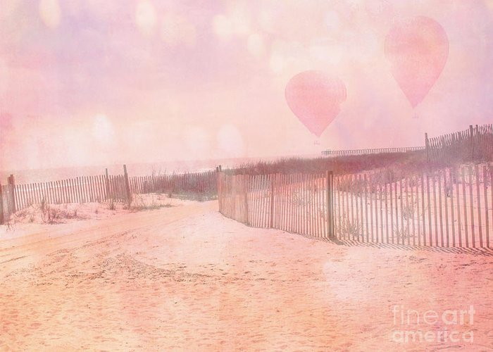 Beach Ocean Photos Greeting Card featuring the photograph Surreal Dreamy Pink Coastal Summer Beach Ocean With Balloons by Kathy Fornal