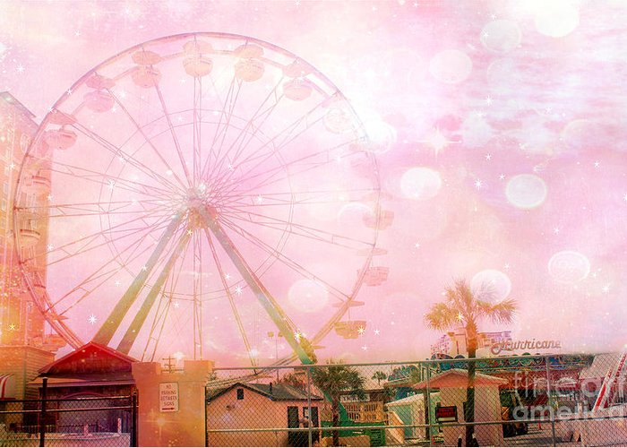Pink Ferris Wheel Photos Greeting Card featuring the photograph Surreal Dreamy Pink Myrtle Beach Ferris Wheel by Kathy Fornal