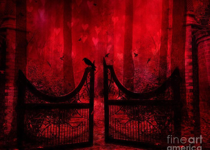 Raven Crow Art Greeting Card featuring the photograph Surreal Fantasy Gothic Red Forest Crow On Gate by Kathy Fornal