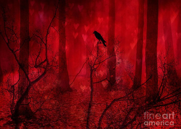 Raven Crow Art Greeting Card featuring the photograph Surreal Fantasy Gothic Red Woodlands Raven Trees by Kathy Fornal