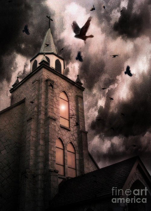 Surreal Church Greeting Cards