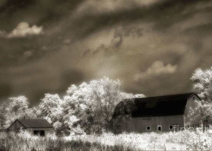 Surreal Barn Photos Greeting Card featuring the photograph Surreal Infrared Sepia Rural Barn Landscape by Kathy Fornal