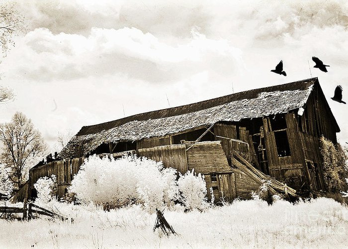 Old Crumbling Barn Greeting Cards