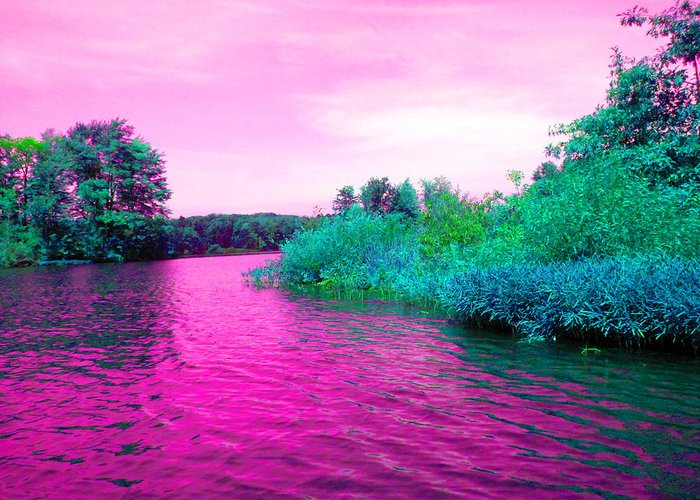 Lake Greeting Card featuring the digital art Surrreal Pink Waters by Joseph Wiegand