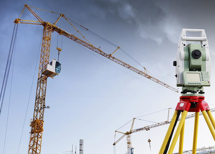 Surveying Greeting Card featuring the photograph Surveying Instrument For Construction Industry by Christian Lagereek