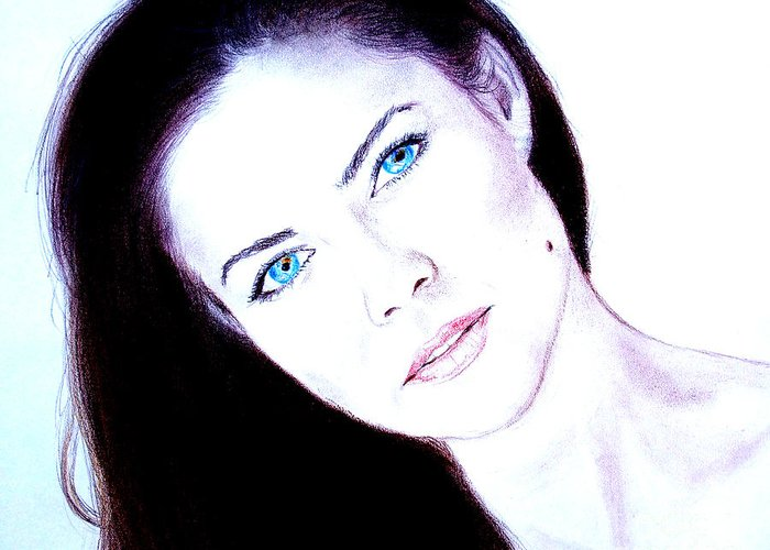 Model Greeting Card featuring the drawing Susan Ward Blue Eyed Beauty With A Mole II by Jim Fitzpatrick