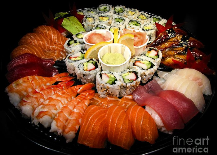 Food Greeting Card featuring the photograph Sushi Party Tray by Elena Elisseeva