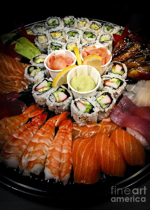 Food Greeting Card featuring the photograph Sushi Tray by Elena Elisseeva