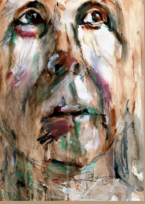 Face Greeting Card featuring the mixed media Suzy by Jim Vance