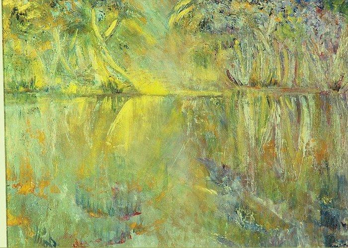Sunset Greeting Card featuring the painting Swamp Sun by Faith Coddington