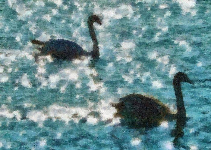 Swan Greeting Card featuring the painting Swan Lake by Ayse Deniz
