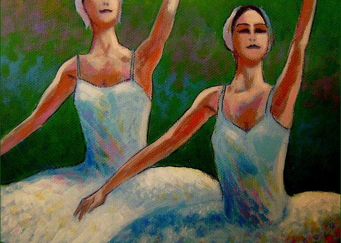 Ballet Greeting Card featuring the painting Swan Lake II by John Nolan