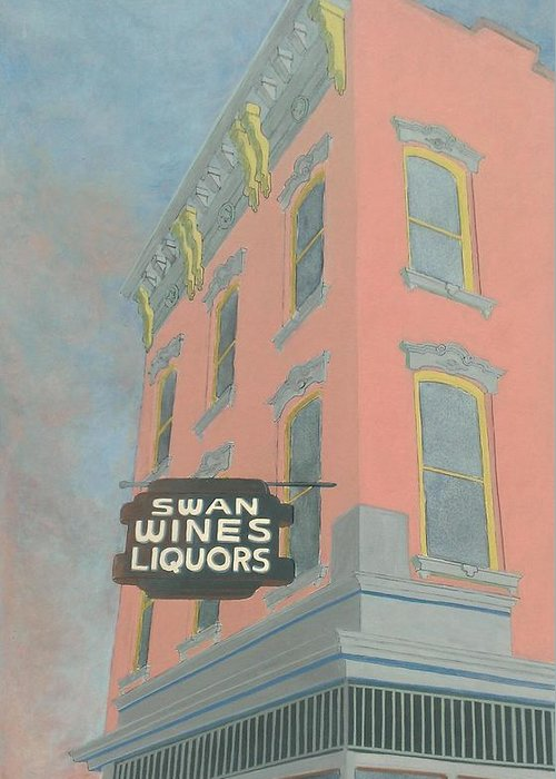 Cityscape Greeting Card featuring the painting Swan Liquors by David Hinchen