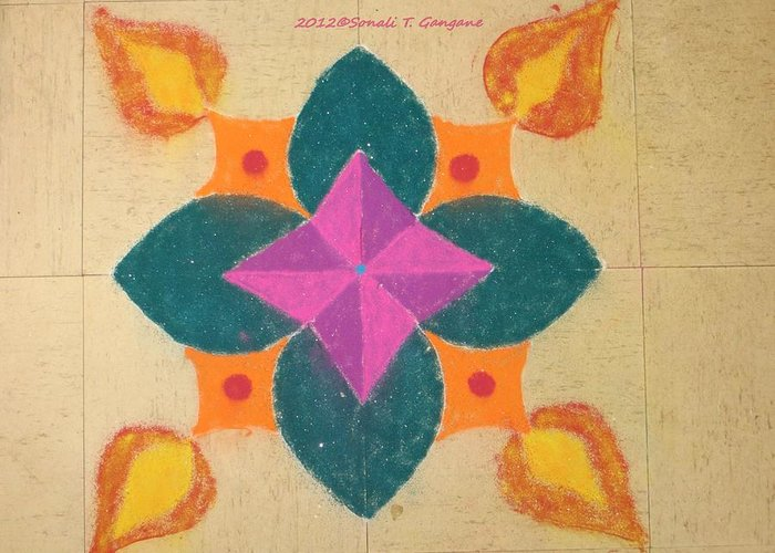 Deep Greeting Card featuring the pastel Swarna Jyot by Sonali Gangane