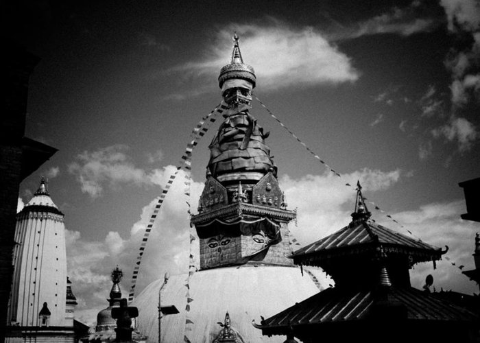 Sculpture Greeting Card featuring the photograph Swayambhunath Temple Black And White by Raimond Klavins