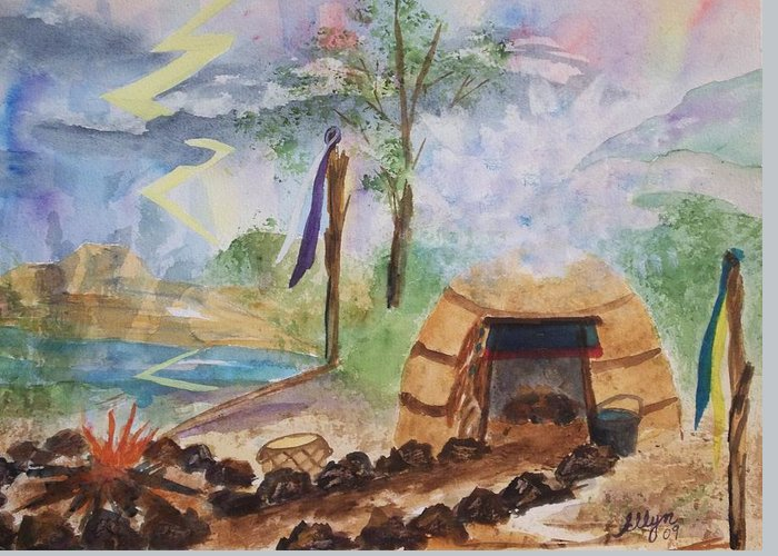 Sweat Lodge Greeting Card featuring the painting Sweat Lodge by Ellen Levinson