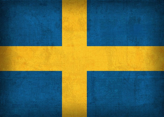 Sweden Flag Vintage Distressed Finish Greeting Card featuring the mixed media Sweden Flag Vintage Distressed Finish by Design Turnpike