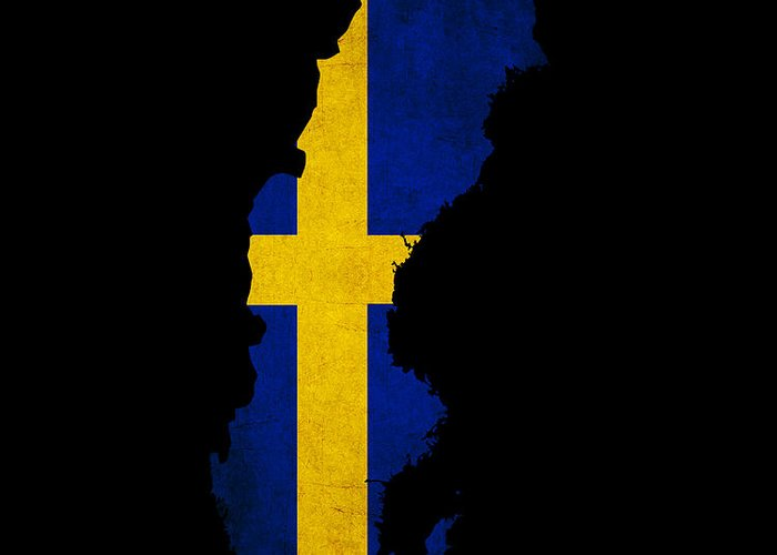 Flag Greeting Card featuring the photograph Sweden Grunge Map Outline With Flag by Matthew Gibson