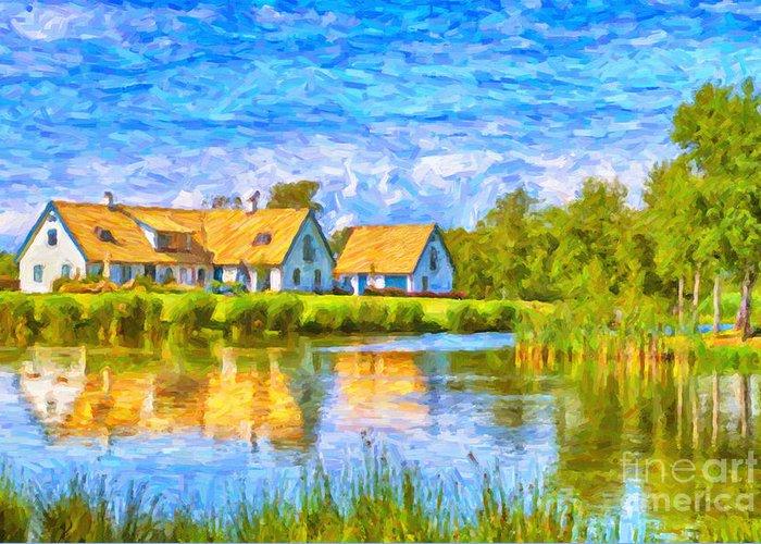 Torekov Greeting Card featuring the painting Swedish Lakehouse by Antony McAulay