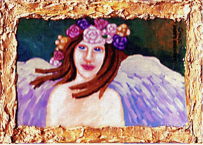 Angel Greeting Card featuring the painting Sweet Angel by Genevieve Esson