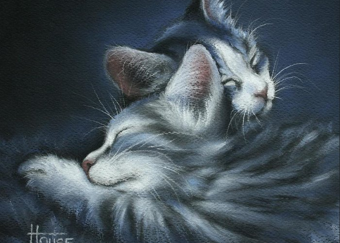 Kittens Greeting Card featuring the drawing Sweet Dreams by Cynthia House