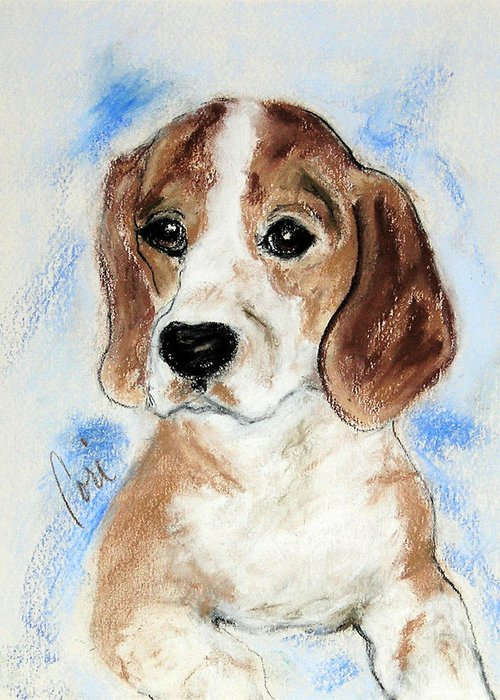 Dog Greeting Card featuring the drawing Sweet Innocence by Cori Solomon