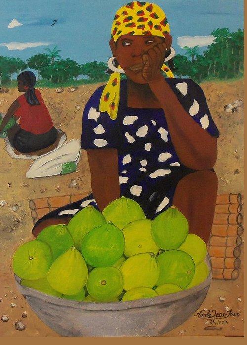 Sweet Oranges By Nicole Jean-louis Greeting Card featuring the painting Sweet Oranges by Nicole Jean-Louis