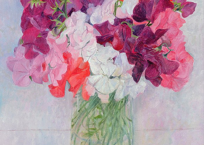 Pea Greeting Card featuring the painting Sweet Peas by Ann Patrick