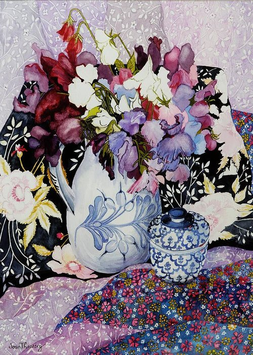 Still Life; Colorful; Patterns; Patterned; Floral Motif; Flowers; Vibrant; Arrangement; Composition Greeting Card featuring the painting Sweet Peas In A Blue And White Jug With Blue And White Pot And Textiles by Joan Thewsey